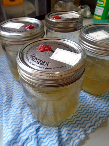 Four glass canning jars with DIY injection-port lids
